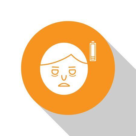 White Fatigue icon isolated on white background. No energy. Stress symptom. Negative space. Orange circle button. Vector Illustration Ilustrace
