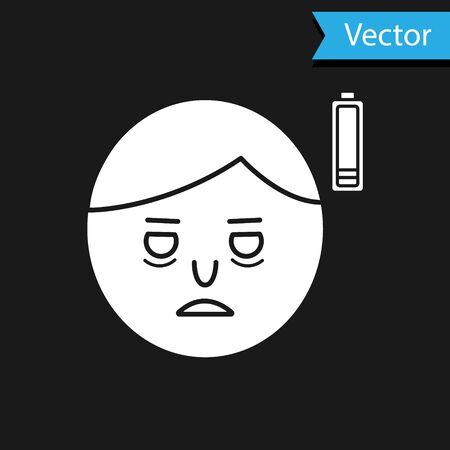 White Fatigue icon isolated on black background. No energy. Stress symptom. Negative space. Vector Illustration Ilustrace