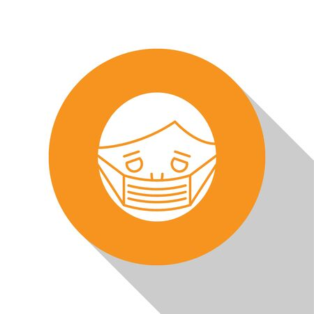 White Man face in a medical protective mask icon isolated on white background. Quarantine. Orange circle button. Vector Illustration