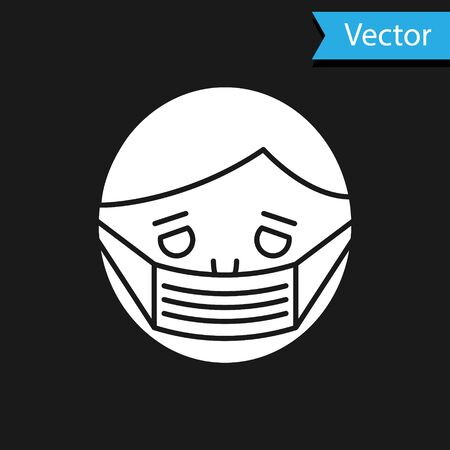 White Man face in a medical protective mask icon isolated on black background. Quarantine. Vector Illustration