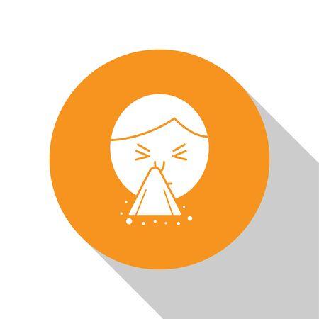 White Man holding handkerchief or napkin to his runny nose icon isolated on white background. Coryza desease symptoms. Orange circle button. Vector Illustration Illusztráció