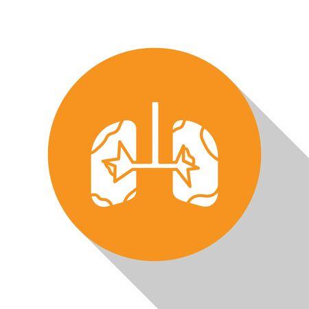 White Lungs icon isolated on white background. Orange circle button. Vector Illustration Ilustração