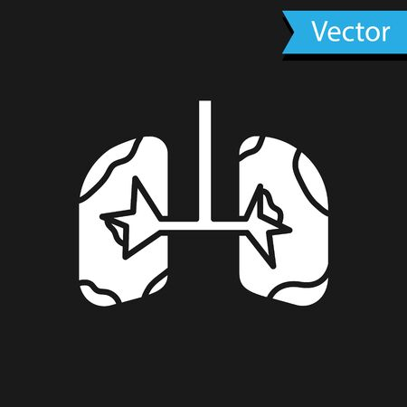 White Lungs icon isolated on black background. Vector Illustration Vettoriali