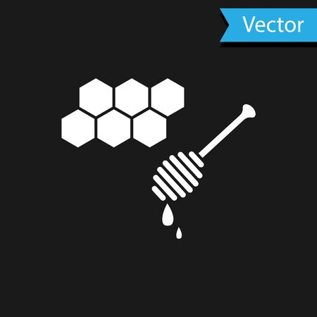 White Honeycomb with honey dipper stickicon isolated on black background. Honey ladle. Honey cells symbol. Sweet natural food. Vector Illustration