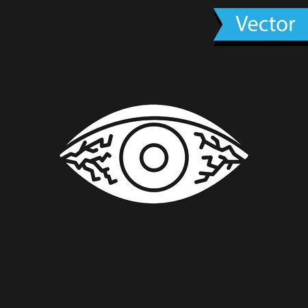 White Reddish eye due to viral, bacterial or allergic conjunctivitis icon isolated on black background. Vector Illustration
