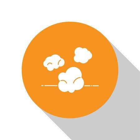 White Dust icon isolated on white background. Orange circle button. Vector Illustration