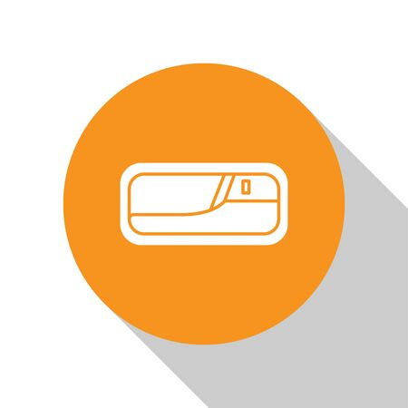 White Car door handle icon isolated on white background. Orange circle button. Vector Illustration Ilustração