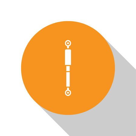 White Shock absorber icon isolated on white background. Orange circle button. Vector Illustration Illustration