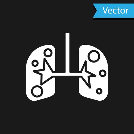White Lungs icon isolated on black background. Vector Illustration Banco de Imagens - 138065696