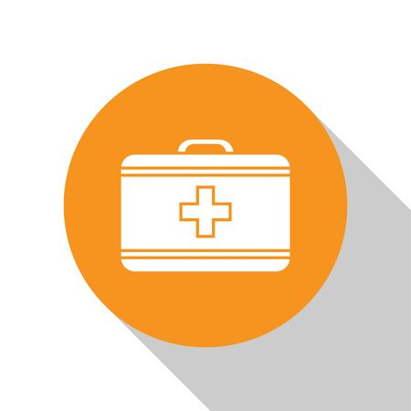 White First aid kit icon isolated on white background. Medical box with cross. Medical equipment for emergency. Healthcare concept. Orange circle button. Vector Illustration Ilustração