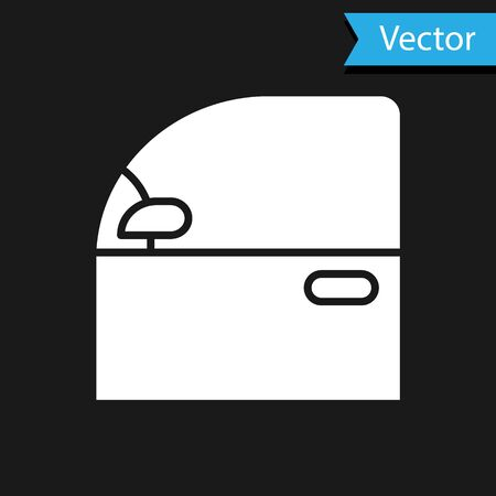 White Car door icon isolated on black background. Vector Illustration Vettoriali