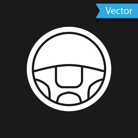 White Steering wheel icon isolated on black background. Car wheel icon. Vector Illustration