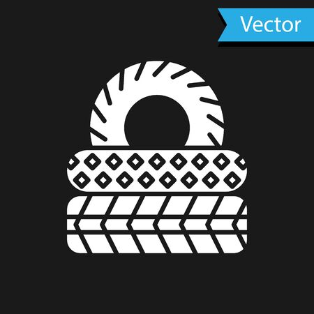 White Car tire icon isolated on black background. Vector Illustration