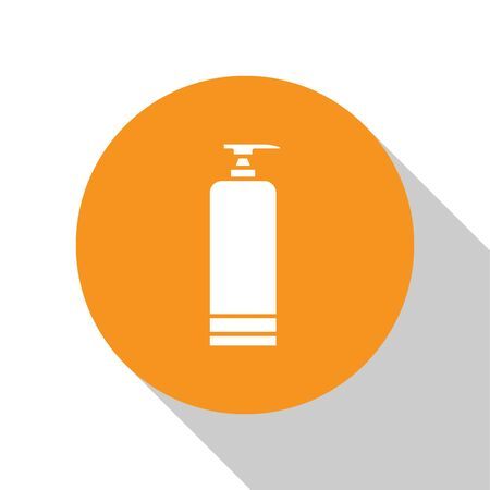 White Cream or lotion cosmetic tube icon isolated on white background. Body care products for men. Orange circle button. Vector Illustration