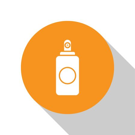 White Spray can for air freshener, hairspray, deodorant, antiperspirant icon isolated on white background. Orange circle button. Vector Illustration