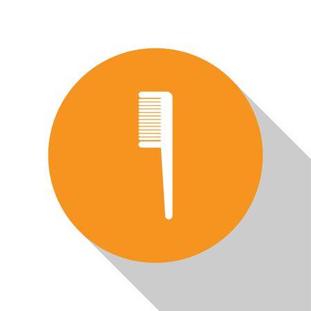 White Hairbrush icon isolated on white background. Comb hair sign. Barber symbol. Orange circle button. Vector Illustration Ilustracja