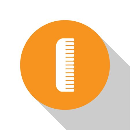 White Hairbrush icon isolated on white background. Comb hair sign. Barber symbol. Orange circle button. Vector Illustration