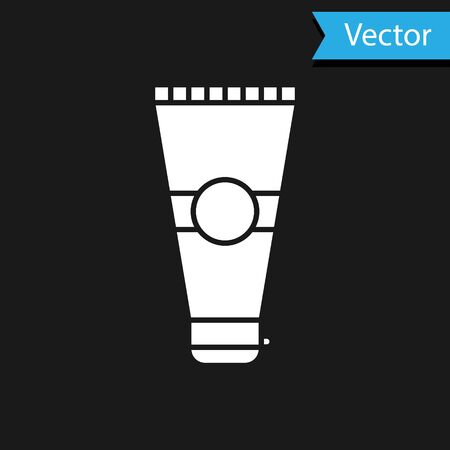 White Cream or lotion cosmetic tube icon isolated on black background. Body care products for men. Vector Illustration Illustration