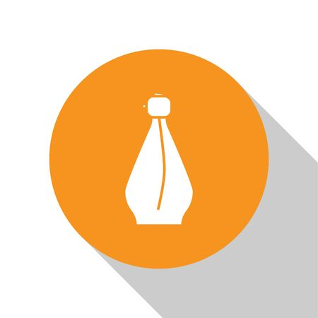 White Perfume icon isolated on white background. Orange circle button. Vector Illustration