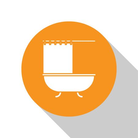 White Bathtub with open shower curtain icon isolated on white background. Orange circle button. Vector Illustration
