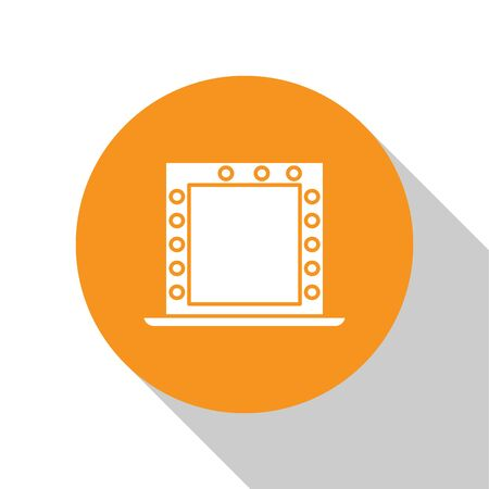 White Makeup mirror with lights icon isolated on white background. Orange circle button. Vector Illustration