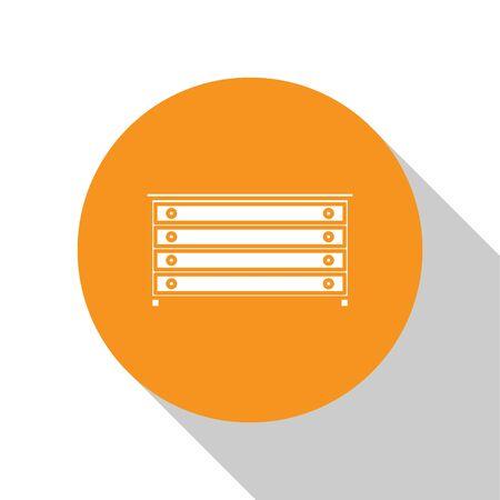 White Chest of drawers icon isolated on white background. Orange circle button. Vector Illustration Ilustração