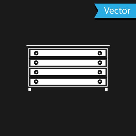 White Chest of drawers icon isolated on black background. Vector Illustration