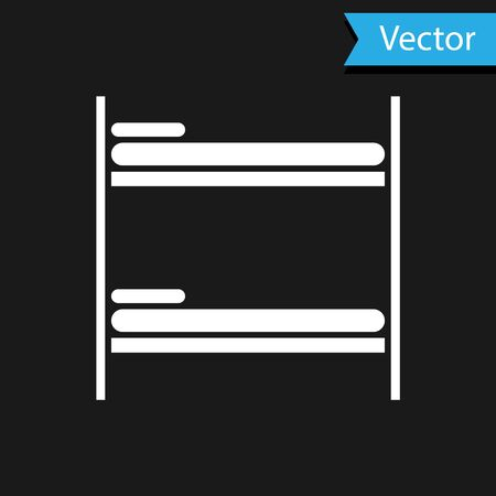 White Bunk bed icon isolated on black background. Vector Illustration