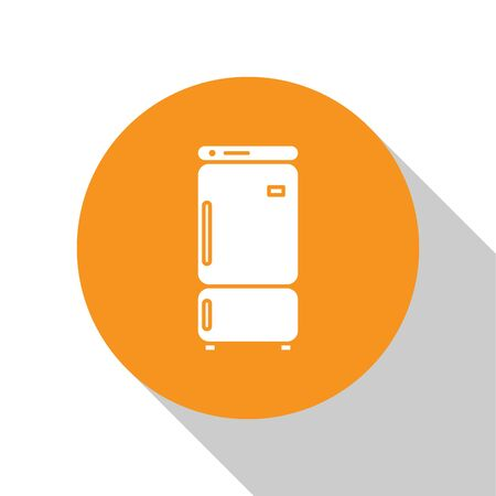 White Refrigerator icon isolated on white background. Fridge freezer refrigerator. Household tech and appliances. Orange circle button. Vector Illustration