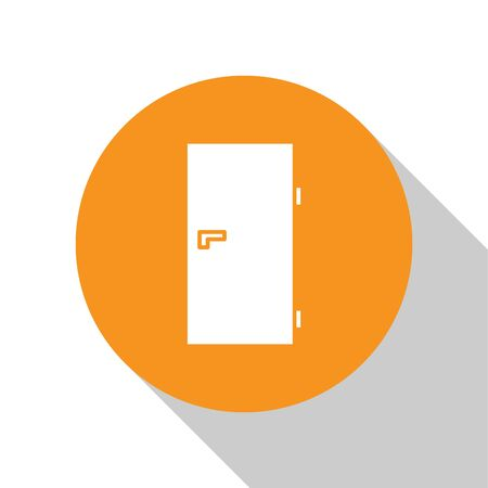 White Closed door icon isolated on white background. Orange circle button. Vector Illustration