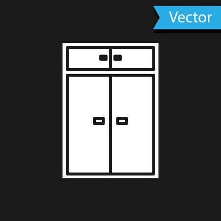 White Wardrobe icon isolated on black background. Vector Illustration Ilustração