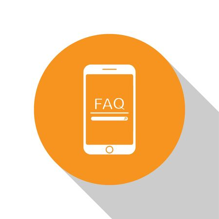 White Mobile phone with text FAQ information icon isolated on white background. Frequently asked questions. Orange circle button. Vector Illustration Иллюстрация