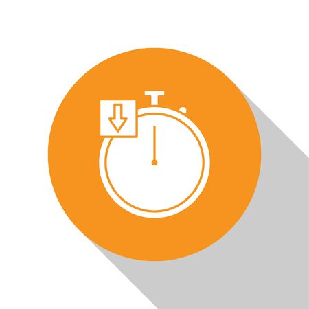 White Stopwatch icon isolated on white background. Time timer sign. Chronometer. Orange circle button. Vector Illustration
