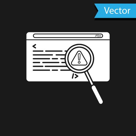 White System bug concept icon isolated on black background. Code bug concept. Bug in the system. Bug searching. Vector Illustration