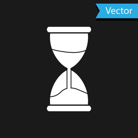 White Old hourglass with flowing sand icon isolated on black background. Sand clock sign. Business and time management concept. Vector Illustration
