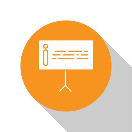 White Information icon isolated on white background. Orange circle button. Vector Illustration Illusztráció