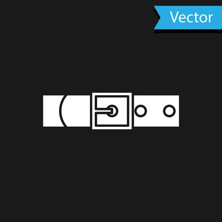 White Leather belt with buttoned steel buckle icon isolated on black background. Vector Illustration