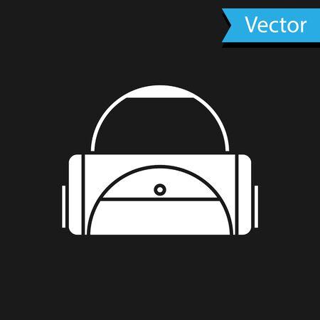 White Sport bag icon isolated on black background. Vector Illustration