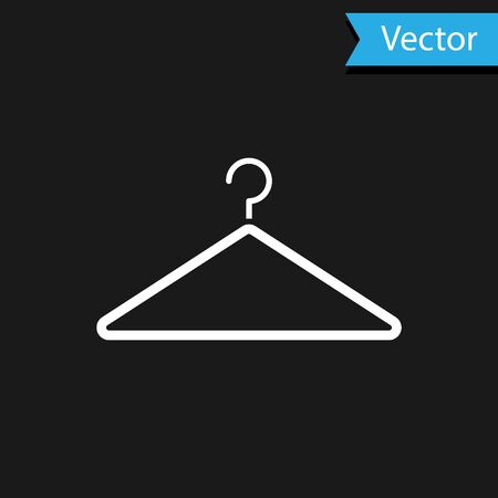 White Hanger wardrobe icon isolated on black background. Cloakroom icon. Clothes service symbol. Laundry hanger sign. Vector Illustration Illustration