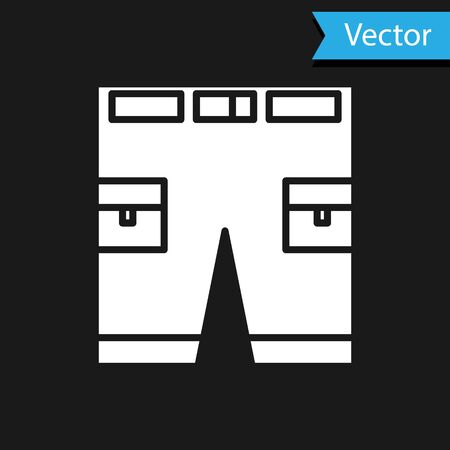 White Short or pants icon isolated on black background. Vector Illustration