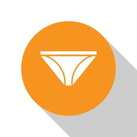 White Men underpants icon isolated on white background. Man underwear. Orange circle button. Vector Illustration