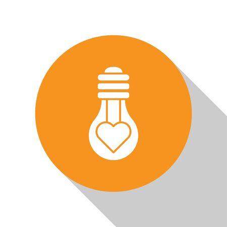 White Heart shape in a light bulb icon isolated on white background. Love symbol. Valentine day symbol. Orange circle button. Vector Illustration