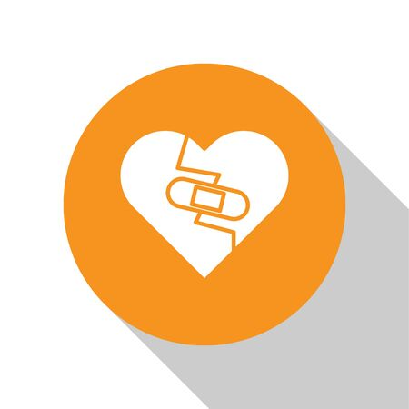 White Healed broken heart or divorce icon isolated on white background. Shattered and patched heart. Love symbol. Valentines day. Orange circle button. Vector Illustration