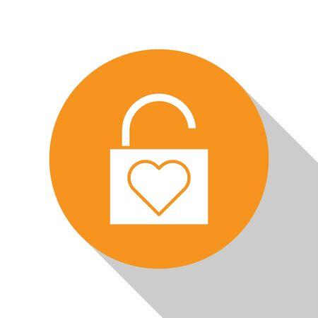 White Lock and heart icon isolated on white background. Locked Heart. Love symbol and keyhole sign. Valentines day symbol. Orange circle button. Vector Illustration Ilustração