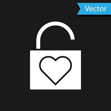 White Lock and heart icon isolated on black background. Locked Heart. Love symbol and keyhole sign. Valentines day symbol. Vector Illustration Ilustração