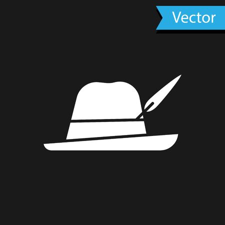 White Oktoberfest hat icon isolated on black background. Hunter hat with feather. German hat. Vector Illustration