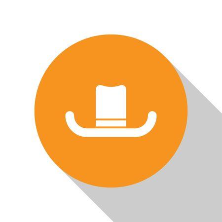 White Man hat with ribbon icon isolated on white background. Orange circle button. Vector Illustration Illustration