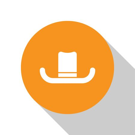 White Man hat with ribbon icon isolated on white background. Orange circle button. Vector Illustration Stock Illustratie