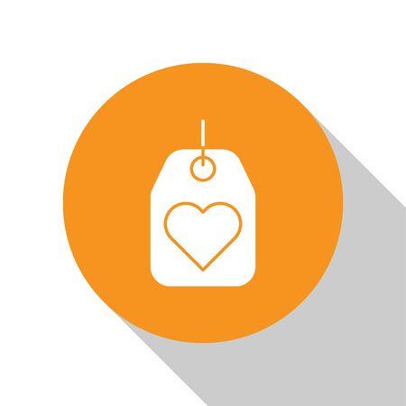 White Heart tag icon isolated on white background. Love symbol. Valentine day symbol. Orange circle button. Vector Illustration