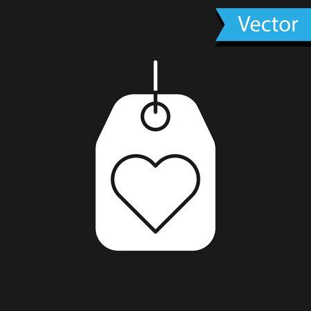 White Heart tag icon isolated on black background. Love symbol. Valentine day symbol. Vector Illustration Stock fotó - 138066999